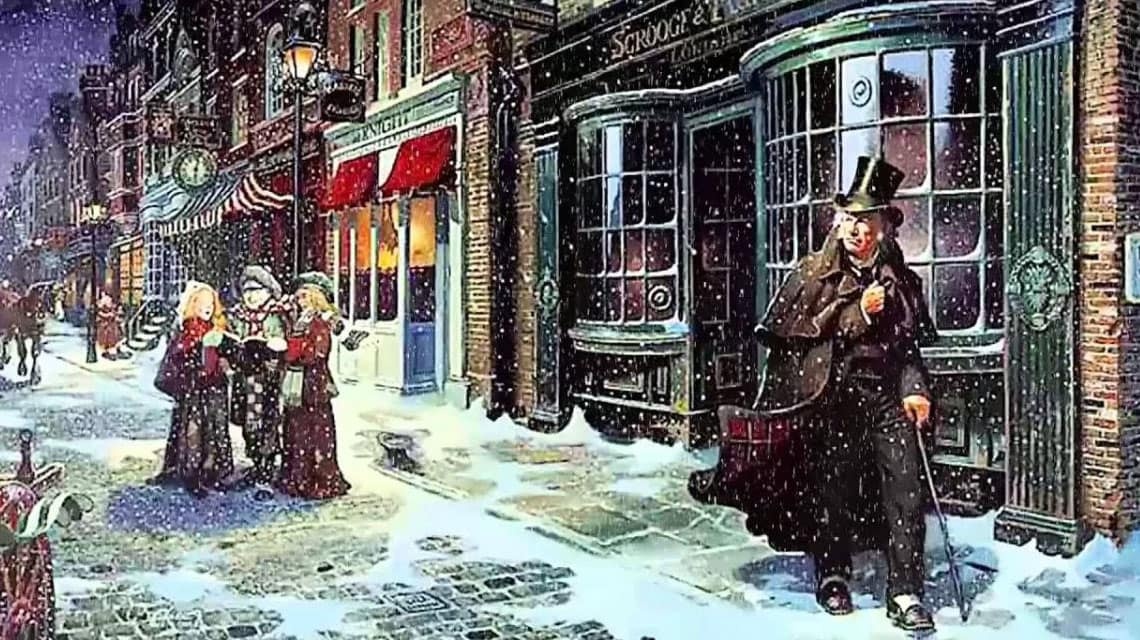 Ebenezer Scrooge walking down the street