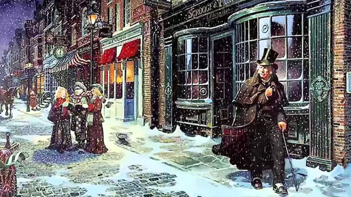 Ebenezer Scrooge walking down the street