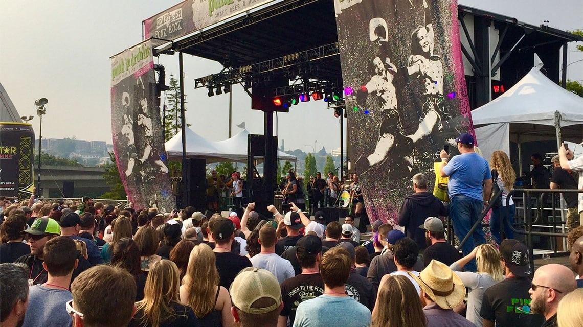 Fans attending a punk rock concert